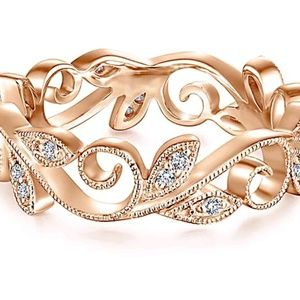Intricate design Rose gold filled leaves ring
